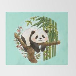 Panda under sunlight - Mint Throw Blanket