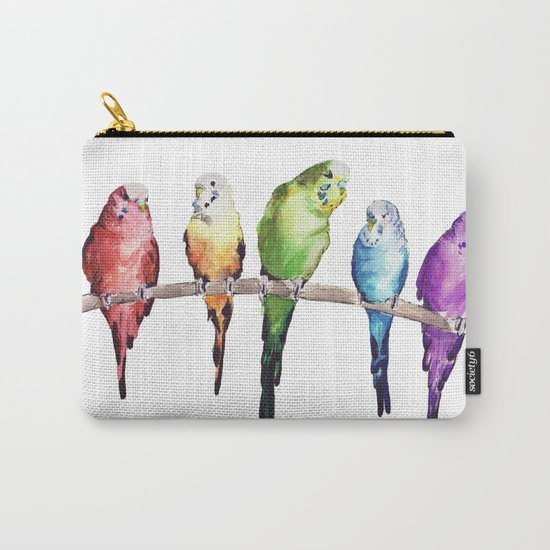 Rainbow Budgie birds Carry-All Pouch