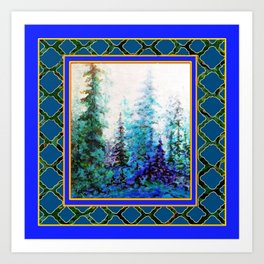 WESTERN  BLUE FOREST WATER COLOR TEAL PATTERN ART Art Print