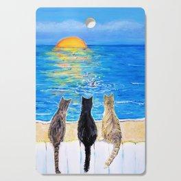 Cat Beach Sunset 2 Cutting Board