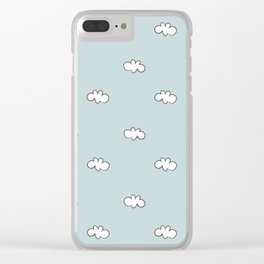 Blue background with small white clouds Clear iPhone Case