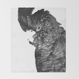 Black and White Cockatoo Illustration Throw Blanket