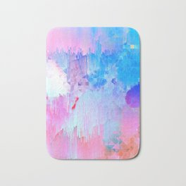 Abstract Candy Glitch - Pink, Blue and Ultra violet #abstractart #glitch Bath Mat