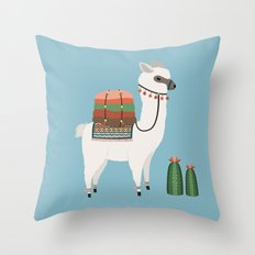Alpaca & Cactus Throw Pillow