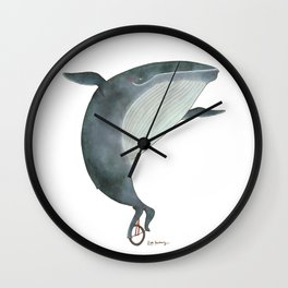 Whale Unicycle Wall Clock