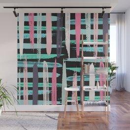 Modern Artsy Pink Girly Brushstroke Stripes Black Wall Mural