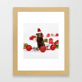 Labrador Dog Christmas w Gifts Santa Hat Framed Art Print