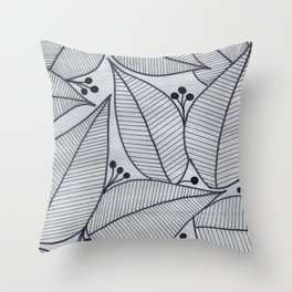 Black Leaves on Silvery Grey - II Throw Pillow