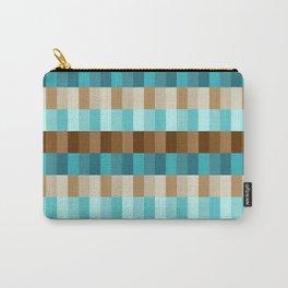 Mid Century Modern Geometric Rectangle Block Stripes // Caribbean Blue, Ocean Blue, Dark Brown, Coffee Brown, Khaki Carry-All Pouch