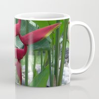 "indonesia Mugs featuring Flower ""Heliconia"" (Bali, Indonesia) by Christian Haberäcker - acryl abstract"