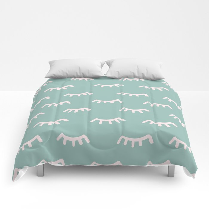Mint Sleeping Eyes Of Wisdom - Pattern - Mix & Match With Simplicity Of Life Comforters
