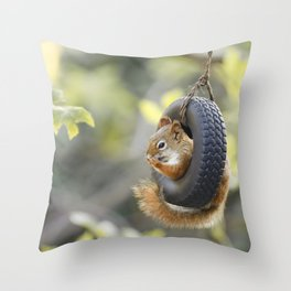 Wheeeee Goes The Squirrel Throw Pillow