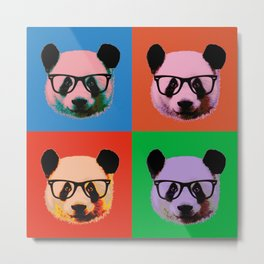 Panda with glasses in 4 Colors Metal Print