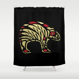 Tribal Black and Gold Bear Symbol Shower Curtain