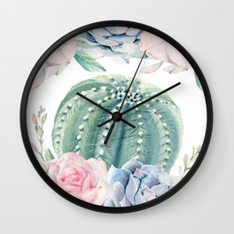 Cactus Rose Succulents Garden Wall Clock