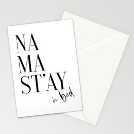 Namastay In Bed, Bed Art, Bedroom Wall Art, Room Decor, Namastay Bed Art Stationery Cards