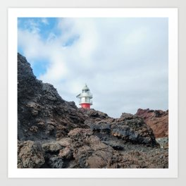 Red Lighthouse Behind the Volcanic Rock of Tenerife Art Print
