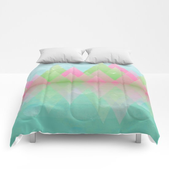 Spring Geometric Mountain  Comforters