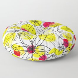 Pineapple Upside Down Floral: Bright Paint Spots with Black Ink Floral Elements Floor Pillow