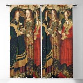 "Lucas Cranach the Elder ""Catherine altar, right wing Saints Barbara, Ursula and Margaret"" Blackout Curtain"
