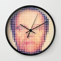 jack nicholson Wall Clocks featuring Jack of dots by lev man