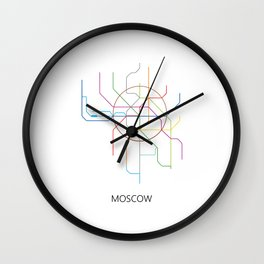 Moscow Metro Map Russian Underground Train Lines Wall Clock