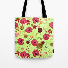 Poppy large floral print on bright green Tote Bag