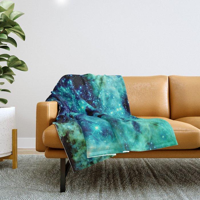 GALAXY. Teal Aqua Stars Throw Blanket
