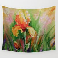 iris Wall Tapestries featuring Iris by OLHADARCHUK