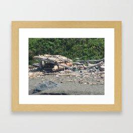 Hut made of driftwood at Klamath Beach Framed Art Print