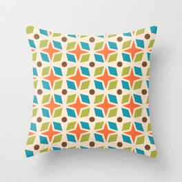 Mid Century Modern Abstract Star Dot Pattern 441 Orange Brown Turquoise Chartreuse Throw Pillow