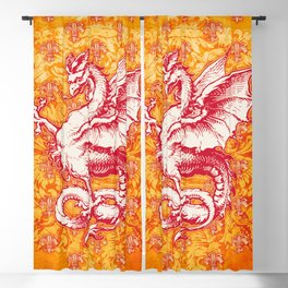 Noble House GINGER FIRE / Grungy heraldry design Blackout Curtain