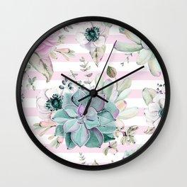 Simply Succulent Garden on Desert Rose Pink Striped Wall Clock