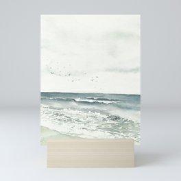 Wavy sea watercolor print Mini Art Print