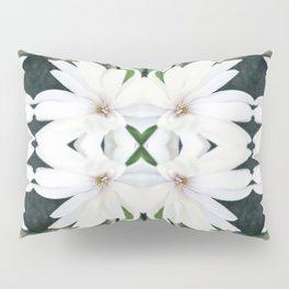 Art Nouveau White Flower Pillow Sham
