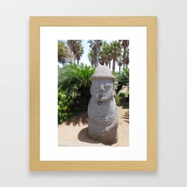 Jeju Stone Statue Framed Art Print