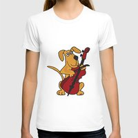 cello T-shirts featuring FunnyBrown Dog Playing Red Cello Artwork by Nature Smiles