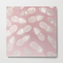 Blush Pineapple Pattern Metal Print