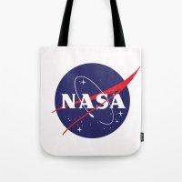 nasa Tote Bags featuring I Need My Space NASA by NoHo