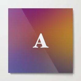 Monogram Letter A Initial Orange & Yellow Vaporwave Metal Print