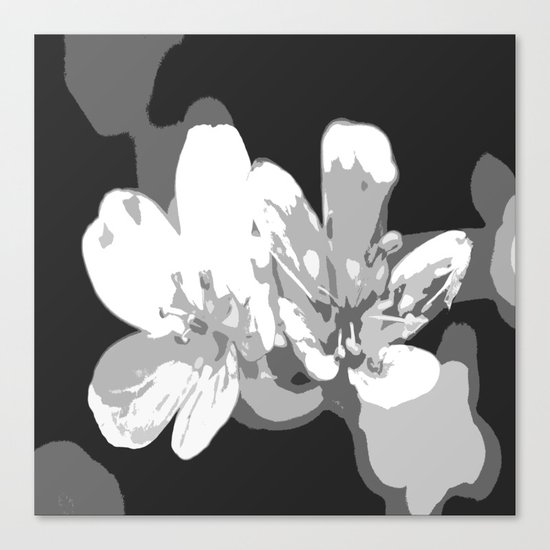 Retro Flowers in Black and White Canvas Print