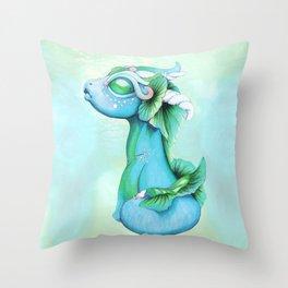 Bitty Water Dragon Throw Pillow