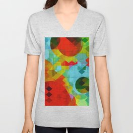 geometric square pixel and circle pattern abstract in red blue yellow Unisex V-Neck