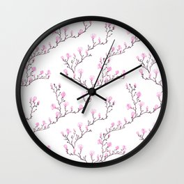 Pink watercolor magnolia pattern Wall Clock