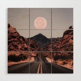 Road Red Moon Wood Wall Art