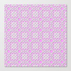 Lacey Pattern, White/Pink Canvas Print