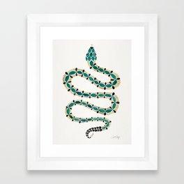 Emerald & Gold Serpent Framed Art Print