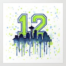 Seattle 12th Man Art Skyline Watercolor Art Print