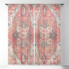 Heriz Azerbaijan Northwest Persian Rug Print Sheer Curtain