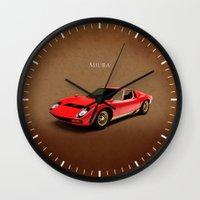 lamborghini Wall Clocks featuring Lamborghini Miura by Mark Rogan